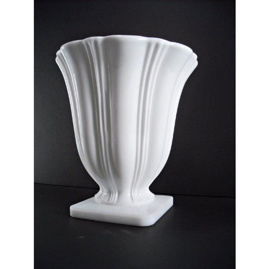 Art Deco Milk Glass Planter Urn Vase - Image 2 of 5