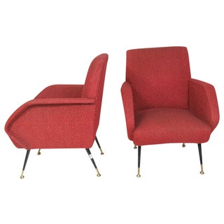 Italian Modern Red Lounge Chairs - A Pair