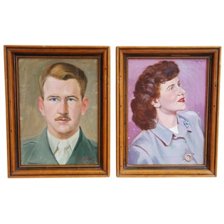 1950s Gentleman & Female Portraits - A Pair