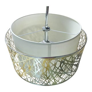 Silver Cage and White Drum Shade Pendant Light