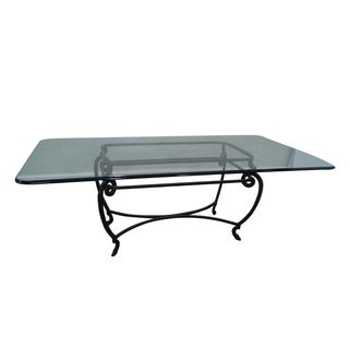 Custom Steel Iron Base Glass Top Dining Table