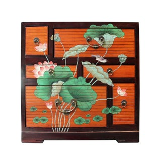 Chinese Oriental Lotus Flower Side Table Cabinet