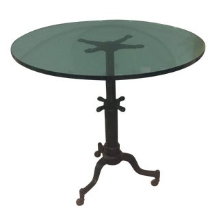 Industrial Adjustable Metal & Glass Dining Table