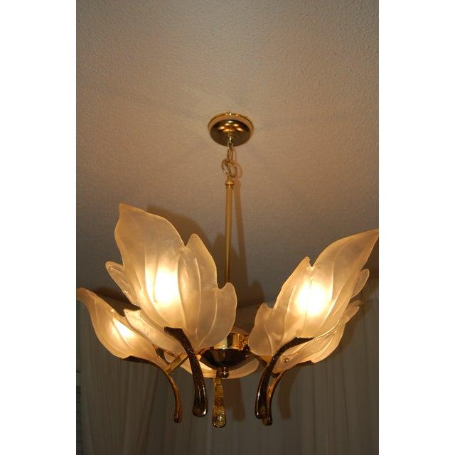 Image of Italian Glass Leaf & Brass Chandelier