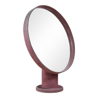 Large Vanity Mirror Fully Covered in Dark Purple Leather, France, 1950s