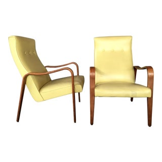 Thonet Yellow High Back Lounge Chairs - a Pair