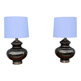 1960's Modern Mercury Glass Table Lamps - Set of 2