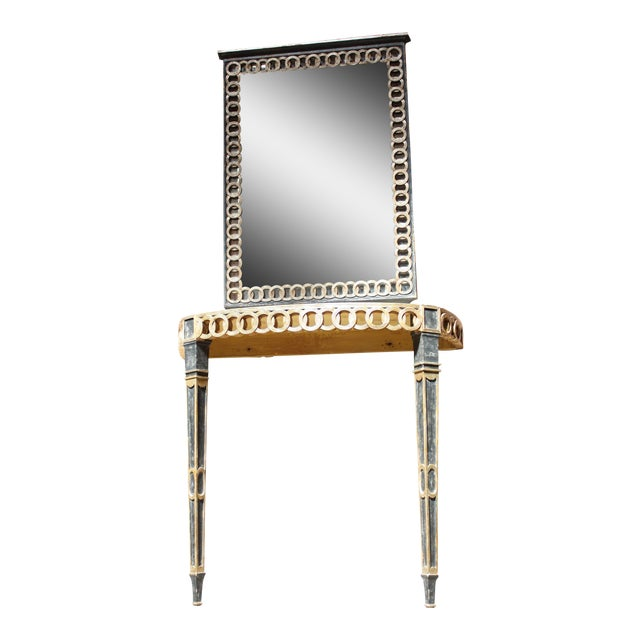 Italian Palladio Parcel Paint and Gilt Demilune Console and Mirror - Image 1 of 10