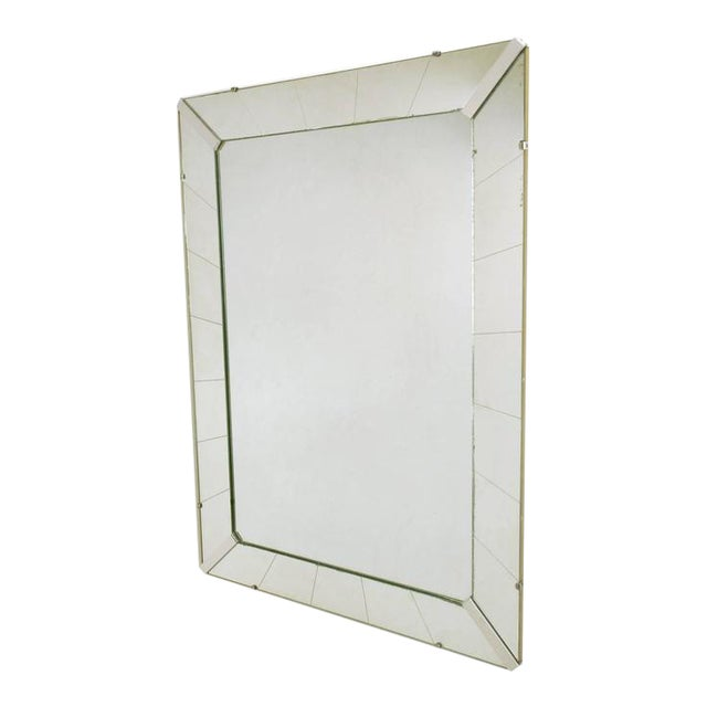 Tall Reverse Striated and Mirrored Frame Art Deco Mirror - Image 1 of 5