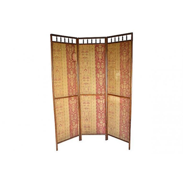 Antique Hand-Dyed Linen Tapestry Room Screen - Image 1 of 7