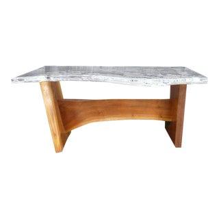 George Nakashima Style Walnut & Lucite Coffee Table