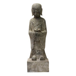 Chinese Gray Stone Carved Small Standing Lohon Statue