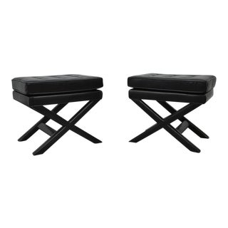 Black Leather X-Base Stools