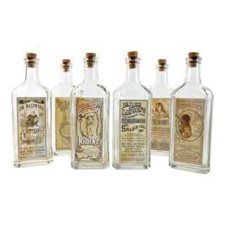 Antique Decorative Remedy Bottles - Set of 6
