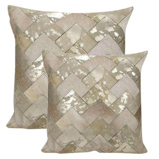 "Premium Leather & Cowhide Pillows With Metallic Silver Accents 20""x20"""