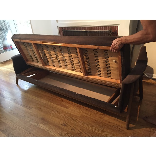Mid-Century Modern Brown Velvet Sofa Bed - Image 4 of 6