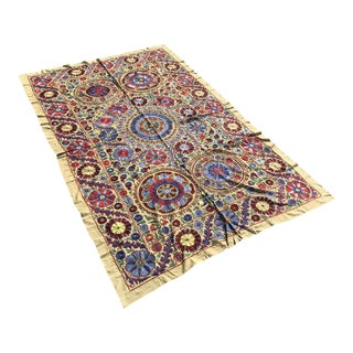"Handmade Suzani Crochet Yellow Floral Fabric Bedspread - 6'8"" x 4'4"""