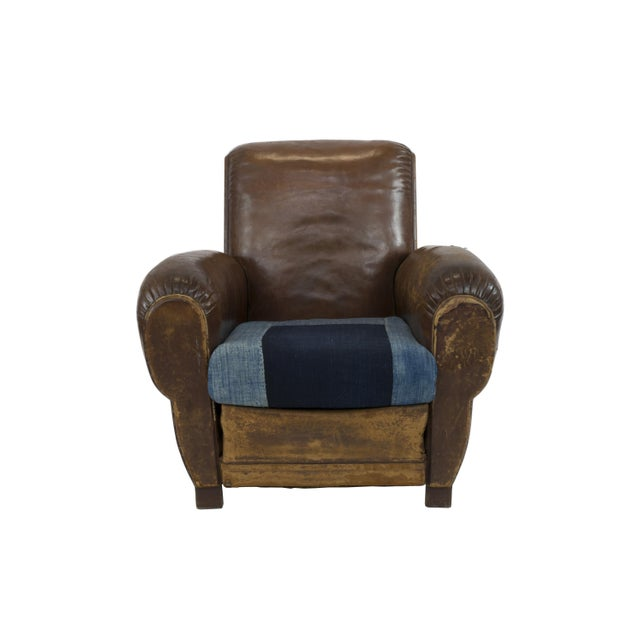 Large 1920's French Leather Club Chairs - Pair - Image 6 of 9