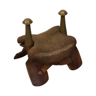Mid Century Hardwood & Hammered Brass Camel Stool