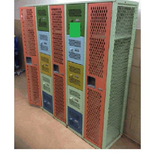 Vintage Mesh Steel Multicolor Lockers - Image 2 of 6