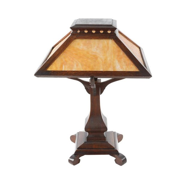 Arts & Crafts Original Mission Oak Table Lamp - Image 1 of 8