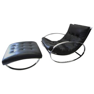 Renato Zevi Ellipse Rocking Chair and Ottoman in the Style of Milo Baughman