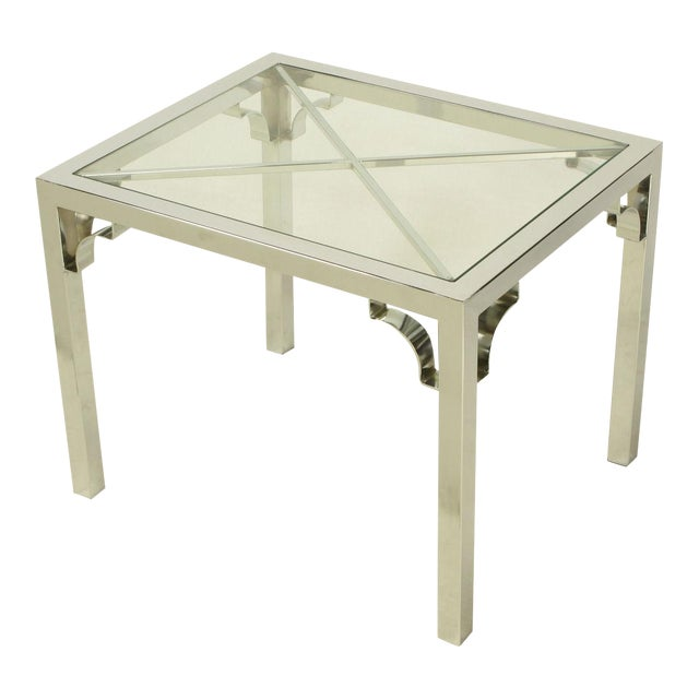 Chrome Parsons Style Chinese Chippendale X-Top End Table - Image 1 of 7