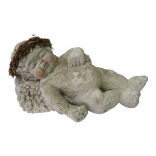 Sleeping Cherub Ceramic Sculpture