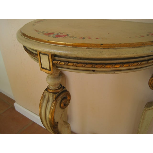Painted Demilune Side Tables Lamp Tables - Pair - Image 7 of 11