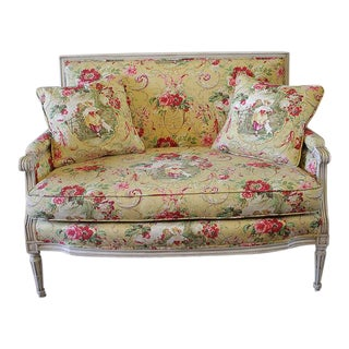 Early 20th Century Toile De Jouy Upholstered Louis XVI Style Settee