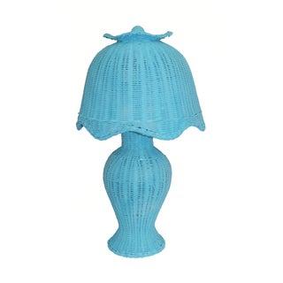 Vintage Aqua Wicker Table Lamp & Shade