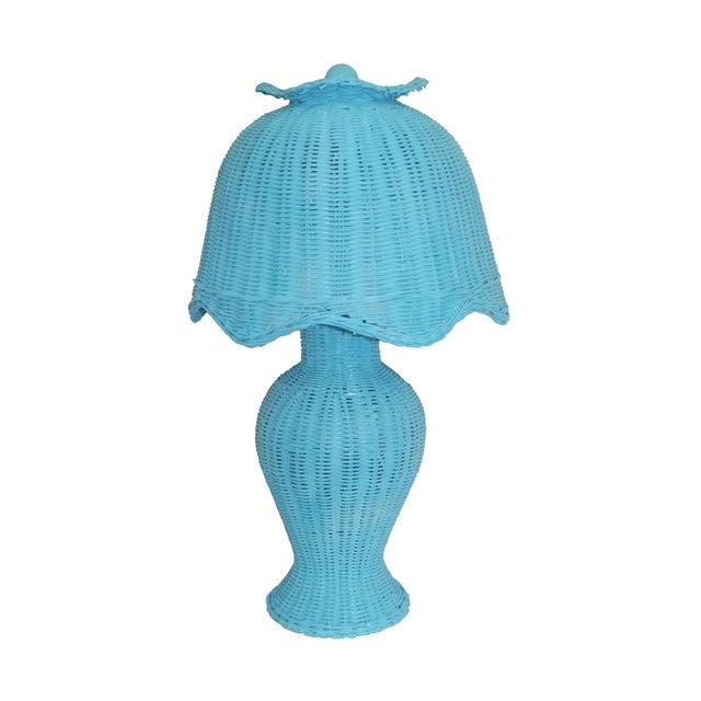 Image of Vintage Aqua Wicker Table Lamp & Shade