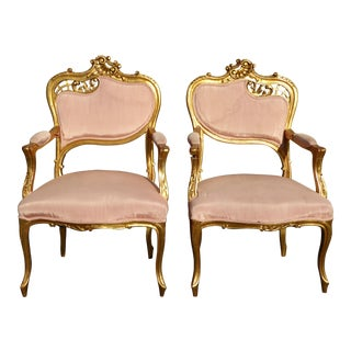 Vintage French Rococo/Louis XV Style Giltwood Accent Chairs- A Pair