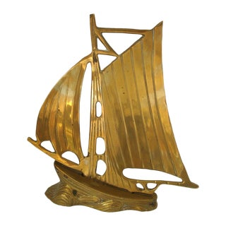 Vintage Gold Brass Sailboat Sculpture