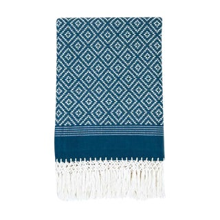 Teal Diamond Handwoven Throw