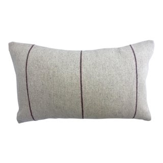 Italian Eco-Friendly Neutral and Pink Stripes Wool Lumbar Pillow