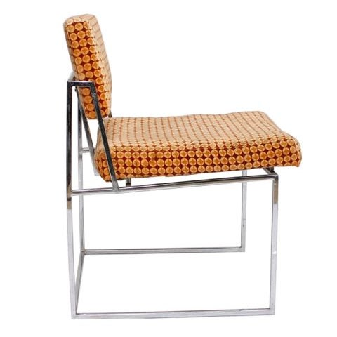 Thayer Coggin Upholstered Chrome Chairs - A Pair - Image 3 of 6