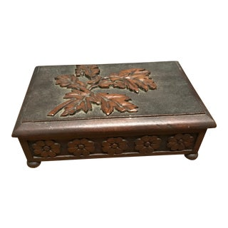 Carved Oak Leaf Motif Box