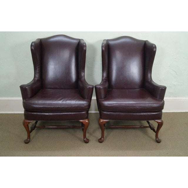 Oxblood Leather Wing Chairs - A Pair - Image 2 of 10