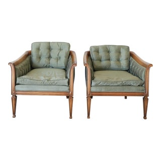 John Widdicomb Upholstered Round Back Lounge Chairs - Pair
