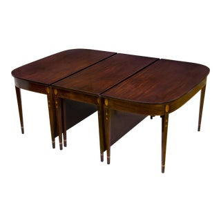 Grand Federal Hepplewhite Inlaid Mahogany Dining Table