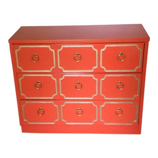 Dorothy Draper Espana Style Orange Chest of Drawers