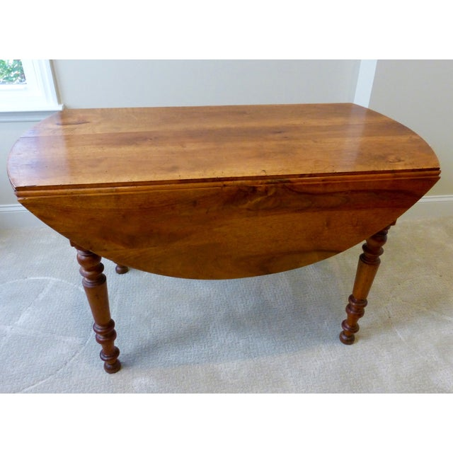 Image of Antique French Walnut Drop Leaf Table