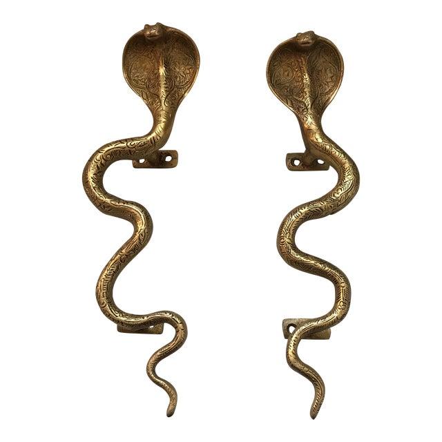 Hollywood Regency Gold Brass Cobra Door Handles- a Pair - Image 11 of 11