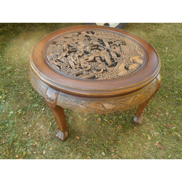 Vintage Japanese Hand Carved Tea Table Dining Set - Image 4 of 9