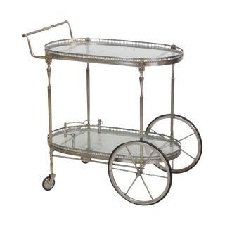Directoire Style Chrome & Glass Bar Cart