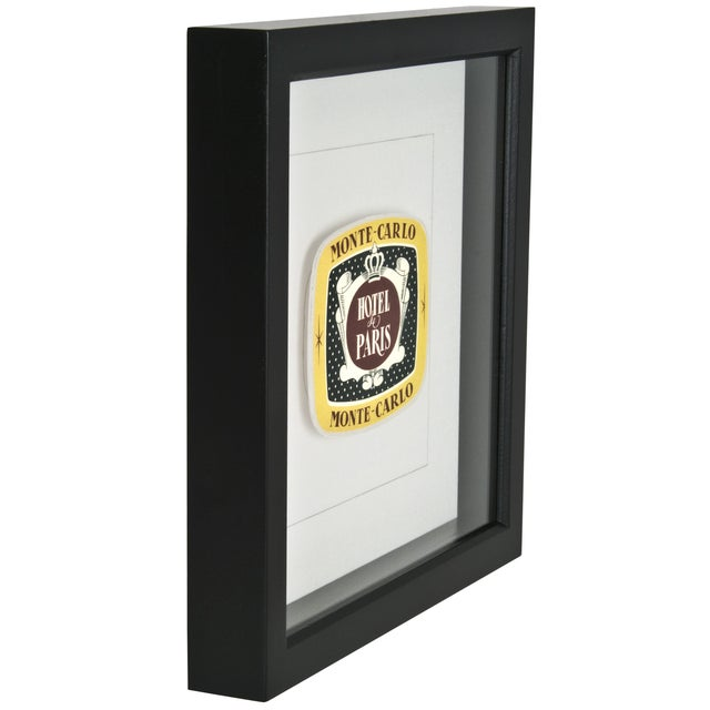 Image of Framed French Monte Carlo Hotel Luggage Label