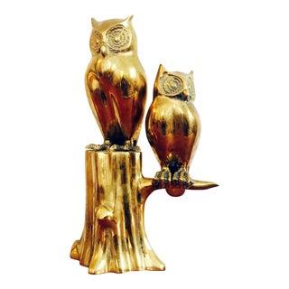 Vintage Brass Owl Sculpture