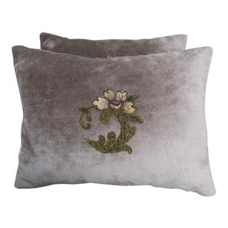 Velvet Silvery Floral Applique Pillows - Pair