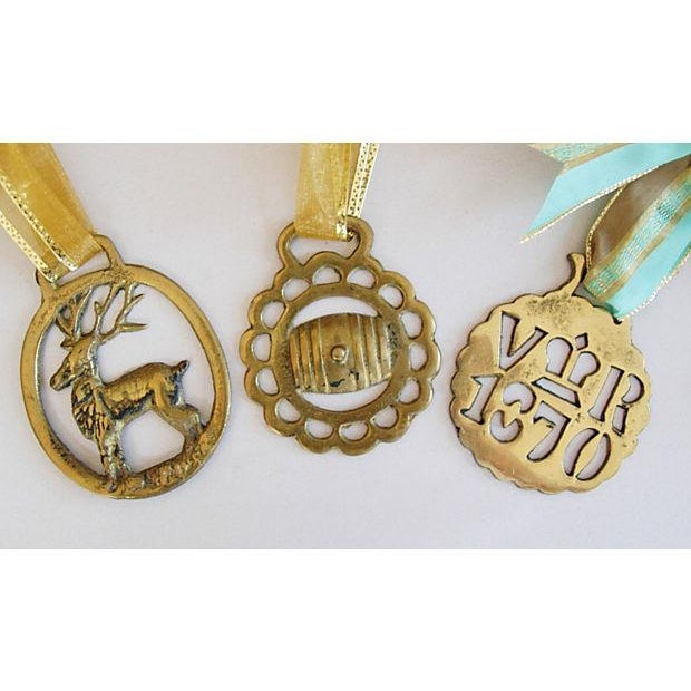 Image of Antique English Brass Horse Ornaments - Set of 3